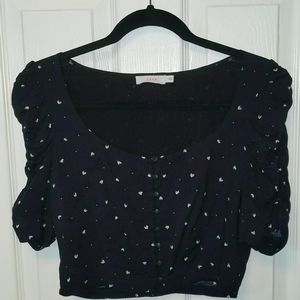 Puff Sleeve navy cropped top with button details